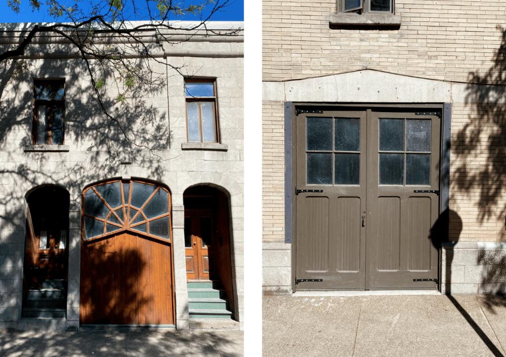 Deux portes cochères dans la ville de Montréal
